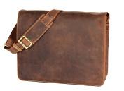 Mens Real Leather Messenger Bag Tan Vintage Distressed Shoulder Bag LAS VEGAS 36x27x12 cm