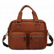 BAIGIO Vintage Crazy Horse Leather Laptop Bag Briefcases Office Shoulder Tote Bags Soft Handle, Brown