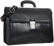 "Gusti Leder studio ""Clemens"" Genuine Leather Smart Briefcase Business Bag Office Work Document 39cm Laptop Case Vintage Unisex Made in Italy Black 2B30-93-2"
