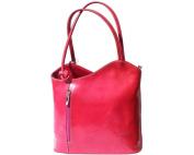 Ladies Italian Leather Handbag,Convertible Rucksack, Backpack In Fuchsia