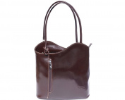 Ladies Italian Leather Handbag,Convertible Rucksack, Backpack In Dark Brown