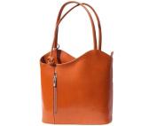 Ladies Italian Leather Handbag,Convertible Rucksack, Backpack In Tan