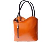 Ladies Italian Leather Handbag,Convertible Rucksack, Backpack In Tan & Brown