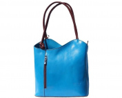 Ladies Italian Leather Handbag,Convertible Rucksack, Backpack In Light Blue & Brown