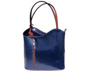 Ladies Italian Leather Handbag,Convertible Rucksack, Backpack In Blue & Brown