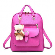 ANNE Women's Pu Backpack Handbags Scool Bag for Girls Handbag with Bear Pendant