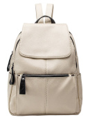 HopeEye Backpacks Daypack Womens Casual Leather Latest Vintage Elegant Commuter Pastel Charms Fashion Luxury Off-White