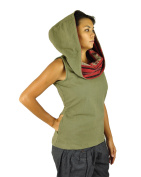 virblatt one-size-fits all sleeveless ladies top with hood made of cotton alternative clothing for women with handmade weaving perfect for sizes S-M - Mystisch