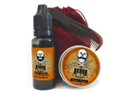 Mens Grooming Set Sweet Orange Fragrance - Moustache Wax, Beard Oil & Pocket Size Beard and Tache Comb presented in a red velvet drawstring travel bag