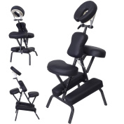 PU Leather Pad Portable Travel Massage Black Tattoo Spa Chair w/ Carrying Bag 7.6cm