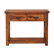 Vellar Living Indian Rosewood 2 Drawer Console Table / Solid Sheesham Rosewood Console Table / Chunky Living Room Furniture