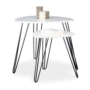 Relaxdays Set of 2 Side Tables, Triangle, 3 Legs, Wood, Metal, 52 x 60 cm, Coffee Table, Living Room, Glossy, White