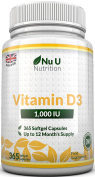 Vitamin D3 365 Softgels (Full Year Supply) 1000IU Vitamin D3 Supplement, High Absorption Cholecalciferol by Nu U Nutrition