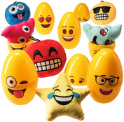"""Jumbo EMOJI Easter Eggs (6 pack) Filled with 5"""" Emoji Toy Plush Pillows Toys - 6""""Large Egg Container"""