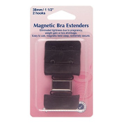 Hemline H777.38.B Black 2 Rows 2 Hooks Magnetic Bra Back Extender 38mm
