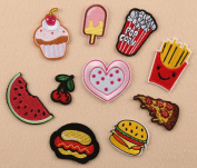 C-Pioneer 10pcs Cute Embroidered Repair Patches Iron On Cloth Paste DIY Applique Craft Kids Clothing Hat Bag Decor