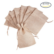 PandaHall Elite 20Pcs Burlap Small Drawstring Gift Bags Carrying Storage Pouch Wrap for Gift Party Wedding Size 13.5x9.5cm Tan