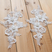 15cm x 25cm Ivory Bead Embroidery Bridal Veils Lace Applique Strawhat Decoration Sewing Supplies 2 piece