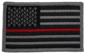 Tactical US Flag Patch (With Hook and loop) Silver W/ Thin Red Line 5.1cm x 8.6cm