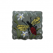 ID 0398 Wasp Flying Patch Bee Flowers Emblem Craft Iron On Badge Applique