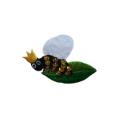 ID 0394 Queen Bee On Leaf Patch Royal Bug Craft Embroidered Iron On Applique