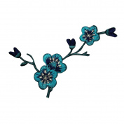 ID 9203B Teal Blue Flower Buds Patch Tree Branch Plant Craft Iron-On Applique