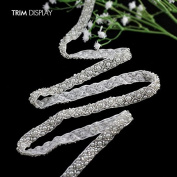 Craft Braided Beaded Trim Fake Pearls Rhinestones Trim Lace Ribbon Applique Sew on 9mm for Wedding Dress 1Y