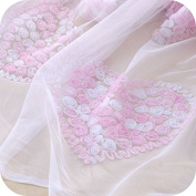 IRIZ Heart-shaped Flower Embroidery Lace Fabric by the Yard