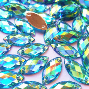 .   Horse Eye Shape Crystal Baby Blue AB Clear Sew On Acrylic Rhinestones Flatback Fancy Stones Sewing For Clothing Dress Decorations 7x15mm 100pcs