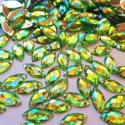 .   Horse Eye Shape Crystal Green AB Clear Sew On Acrylic Rhinestones Flatback Fancy Stones Sewing For Clothing Dress Decorations 7x15mm 100pcs
