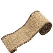 Jute Burlap Ribbon Roll with Black Stitching 7.6cm Width 2 Yards Long for Party Wedding Cake Holiday Flora Craft Decoration