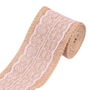 diffstyle 2M Jute Burlap Ribbon with Lace for Craft Rustic Wedding Belt Strap Party Decor