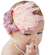 ivebetter Lovely Pink Cotton Baby Girl Bow Feather Headband