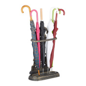 Relaxdays Cast Iron Umbrella Stand, Antique, with Drip Tray, massive, Vintage, Hxwxd