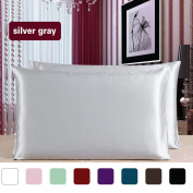 sourcingmap® 100% Pure Mulberry Charmeuse Silk Pillowcase Pillow Case Cover for Hair & Skin Beauty 19 Momme Queen Size 20x30 Inch/51x76cm Silver Grey