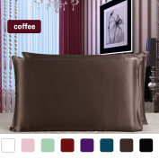 sourcingmap® 100% Pure Mulberry Charmeuse Silk Pillowcase Pillow Case Cover for Hair & Skin Beauty 19 Momme Queen Size 20x30 Inch/51x76cm Coffee Colour