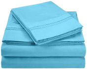 Superior 3000 Series Super Soft and Wrinkle Resistant Microfibre 4-Piece Bed Sheet Set with 2-Line Embroidery in Gift Box, Super-King, Aqua