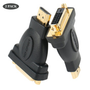 Benfei HDMI to DVI-D DVI Adapter, DVI-D DVI to HDMI Bidirectional Male to Female Converter with Gold-Plated Cord 2 Pack