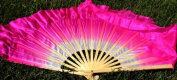 Hot Pink Silk Flutter Dance Fan