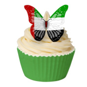 Pack of 12 Edible Wafer Decorations - UAE Flag Butterflies 201-201