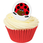 Pack of 12 Edible Wafer Decorations - Ladybird Edible Wafer Toppers (Round) 38mm 201-139