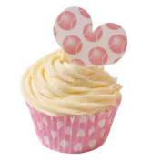 Pack of 12 Edible Wafer Decorations - Sweet Heart Pink Tennis Ball Polka Dot 201-280