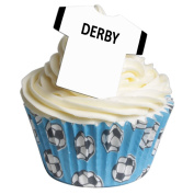 Pack of 12 Edible Wafer Decorations - Football Shirts - Derby County 201-272