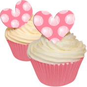 Pack of 12 Edible Wafer Decorations - Love Heart Pink Tennis Ball Polka Dot Toppers 201-279