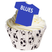 Pack of 12 Edible Wafer Cake Decorations - Edible Football Shirts - Blues 201-259