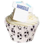 Pack of 12 - Pre-Cut edible Olympique de Marseille Football decorations 201-204