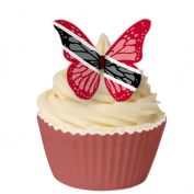 Pack of 12 perfectly cut Trinadad & Tobago Flag Butterfly by CDA Products 201-321