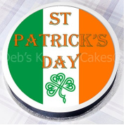 St Patrick's Day Cake Topper - Irish Flag Cake Decoration - Edible Icing - 19cm Round - by Deb's Kitchen Cakes