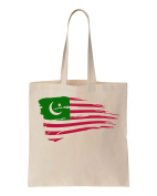 American Flag Of Muslims Design Cotton Canvas Tote Bag