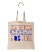 Hey, We Are All Muslims Design Cotton Canvas Tote Bag